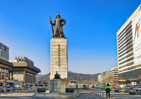 Seoul, South Korea - March 11, 2016: Statue of Admiral Yi Sunsin at Gwanghwamun square in Seoul, South Korea. People in the street Editorial