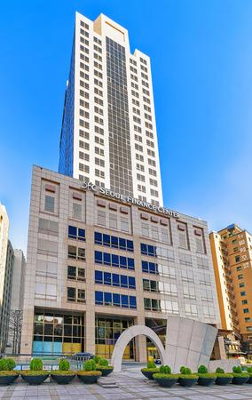 jung: Seoul, South Korea - March 11, 2016: Seoul Finance Center skyscraper in Jung district Seoul, South Korea