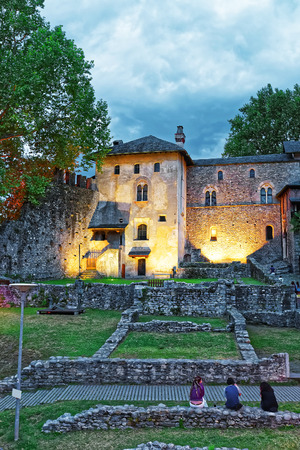 Visconteo Castle at the city center of luxurious resort Locarno, Ticino canton, Switzerland. People on the background Stock Photo