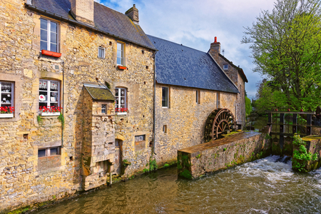 Water mill and Aure River in the old city in Bayeux in Calvados department of Normandy, France.