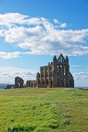 Whitby Abbey of North Yorkshire in the UK. It is ruins of the Benedictine abbey. Now it is under protection of the English Heritage. Stock Photo
