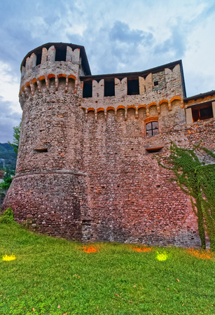 Visconteo Castle in the city center of luxurious resort Locarno in Ticino canton, Switzerland. Stock Photo