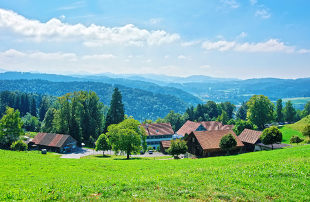 Village in Turbenthal with Swiss Alps at Winterthur district, Zurich canton of Switzerland. Stock Photo