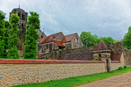 Vezelay Abbey at the courtyard in Avallon of Yonne department in Bourgogne Franche Comte region, France