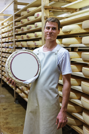 storehouse: Evillers, France - August 31, 2016: Worker holding a wheel of Gruyere de Comte Cheese at ripening cellar in Franche Comte dairy in France Editorial