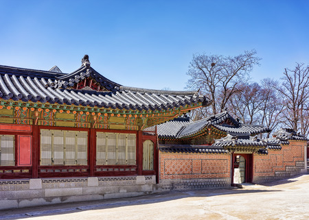 Wooden pavilions and gate at Gyeongbokgung Palace in Seoul, South Korea