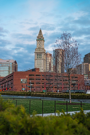 Financial District and Custom House Tower, and North End Park at Cross Street in Boston, Massachusetts, the United States. Stock Photo