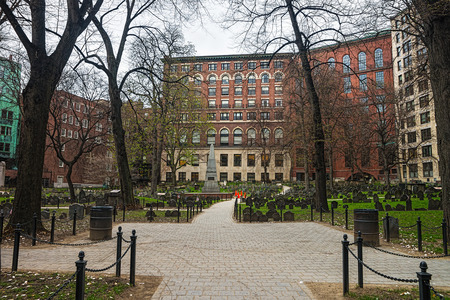 Granary Burying Ground in Tremont Street in downtown Boston, Massachusetts, the United States.