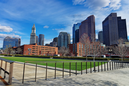 Financial District and Custom House Tower at North End Park at Cross Street in downtown Boston, Massachusetts, the USA.