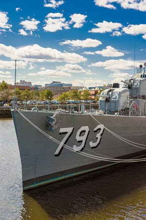 battleship: Boston, USA - April 28, 2015: Fletcher-class destroyer named after Captain Cassin Young moored in the Navy Yard in Boston, USA. There are only 4 such ships afloat.