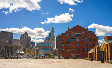 Long Wharf Landing with the Custom House and Financial District in Boston, Massachusetts, the United States. Stock Photo