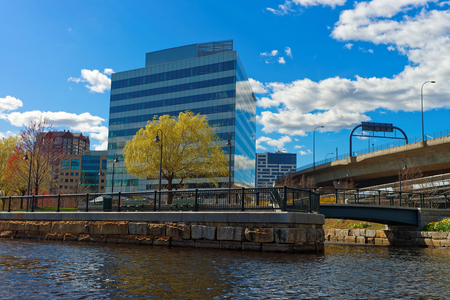 Modern Buildings at North Point Park and Charles River in Cambridge, Massachusetts, the United States.