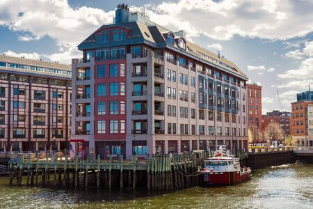 waterfront property: Modern Buildings at Burroughs Wharf at Charles River in Boston, Massachusetts, the USA.