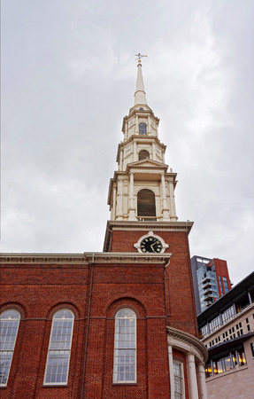 Park Street Church in downtown Boston, Massachusetts, the USA