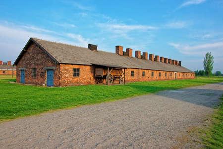 auschwitz memorial: Crematorium building in concentration camp Auschwitz Birkenau, Poland.