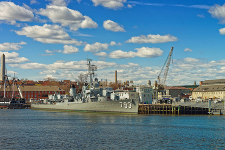 Boston, USA - April 28, 2015: Fletcher-class destroyer named after Captain Cassin Young located in the Navy Yard in Boston, USA. This ship was launched on September 12, 1943