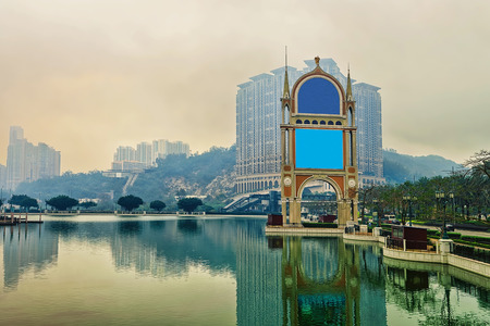 Canal of Macau Casino and Hotel luxury resort in Macao, China. At sunset