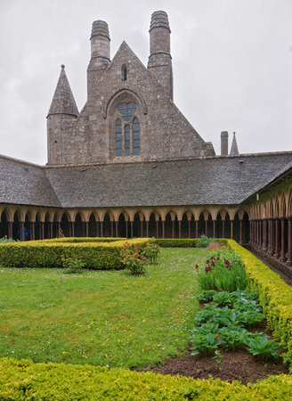 manche: Mont Saint-Michel, France - May 8, 2012: Abbey and cloister on Mont Saint Michel of Normandy region at Manche department in France.