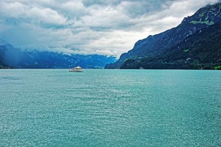 canton berne: Passenger ferry in Lake Brienz and Brienzer Rothorn mountain at Interlaken in Canton of Bern in Switzerland