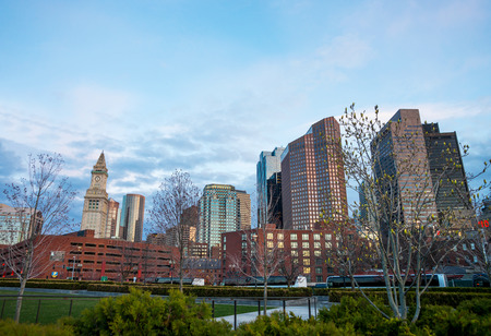 cross street: Financial District with Custom House Tower in North End Park at Cross Street in Boston, Massachusetts, the United States.