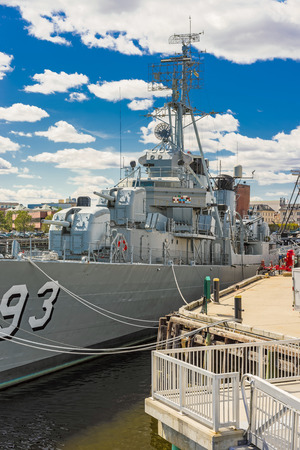 Boston, USA - April 28, 2015: Fletcher-class destroyer USS Cassin Young moored in the Navy Yard in Boston, Massachusetts, USA. There are only 4 such ships afloat.