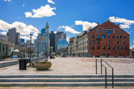 Boston, USA - April 28, 2015: Long Wharf Landing and the Custom House and Financial District in Boston, Massachusetts, the United States. Editorial