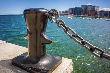 Bitt of Boston Wharf and Charles River, Boston, Massachusetts, the United States.