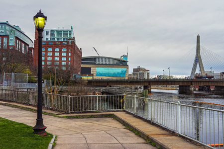 princes street: Arena and Leonard P Zakim Bunker Hill Memorial Bridge seen from Langone Park in Boston, Massachusetts, USA.