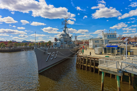Boston, USA - April 28, 2015: Military ship moored in the Navy Yard in Boston, the United States. It is named after Captain Cassin Young and was launched on September 12, 1943.