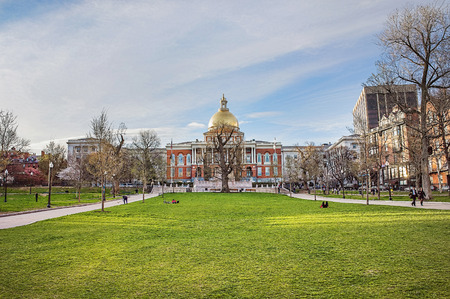 State Library of Massachusetts and Boston Common public park in downtown Boston, MA, the United States. People on the background