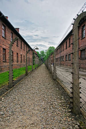 jewish community: Barbed wire and barracks in Auschwitz concentration camp, Poland.