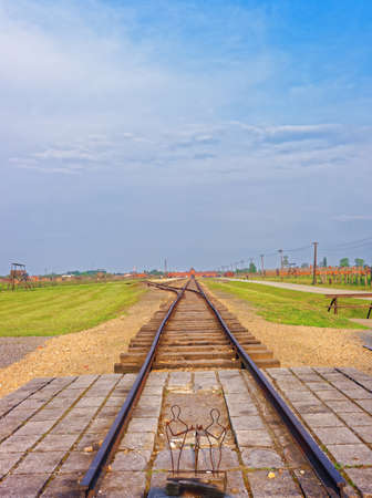 jewish community: Rail track of Auschwitz Birkenau concentration camp, Poland. Editorial