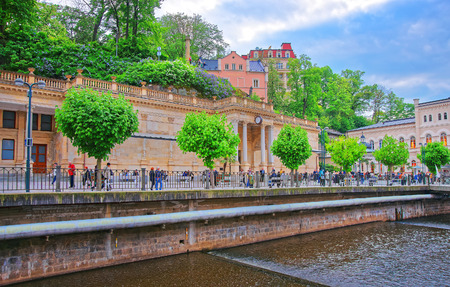 Karlovy vary, Czech republic - May 5, 2014: People in the Mill Colonnade in Karlovy Vary, in the Czech republic Editorial