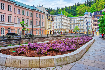 Luxury Grand Hotel Pupp on Promenade in Karlovy Vary, Czech republic. People on the background