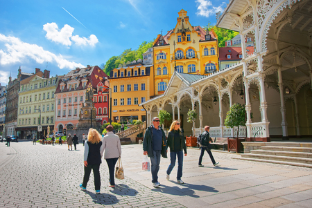 Karlovy vary, Czech republic - May 5, 2014: People at Market Colonnade of Karlovy Vary, Czech republic