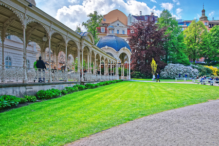 Karlovy vary, Czech republic - May 5, 2014: Park Colonnade in Karlovy Vary, in Czech republic. People on the background Editorial