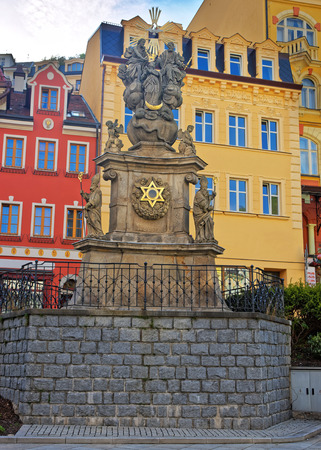 blessed trinity: Holy Trinity Column in Market Square in Karlovy Vary, Czech republic