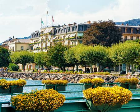Vevey, Switzerland - August 27, 2016: Geneva Lake in Vevey, Vaud canton in Switzerland