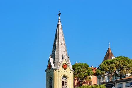 church steeple: Church clock tower at Geneva Lake Riviera in Montreux, Vaud canton, Switzerland Stock Photo