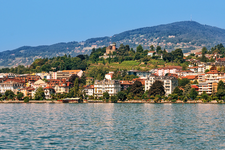 montreux: Panorama of Montreux Riviera on Geneva Lake, Vaud canton of Switzerland. Alps mountains on the background Stock Photo