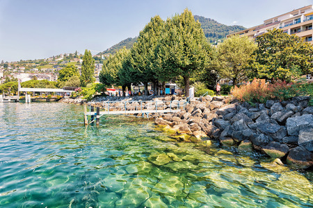 montreux: Pier at Geneva Lake in Montreux, Vaud canton, Switzerland Stock Photo