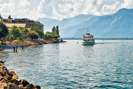 montreux: Excursion ship with people aboard on Geneva Lake at Montreux, Vaud canton, Switzerland Stock Photo