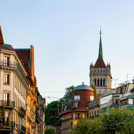 church steeple: Street view on Tower of St Pierre Cathedral in the old city in Geneva in Switzerland Stock Photo