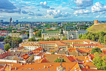 Roof tops of Cathedral Square and Financial District in the old town in Vilnius, Lithuania