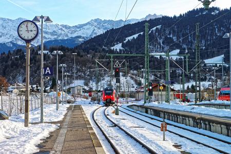 High speed train at the railway train station in Garmisch-Partenkirchen in Germany.