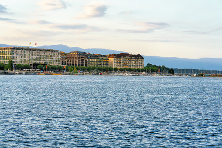 Geneva Lake near Quai du Mont-Blanc in summer, Geneva of Switzerland. Stock Photo