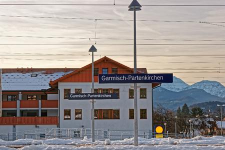 Direction sign at the railway train station, Garmisch-Partenkirchen, Germany.