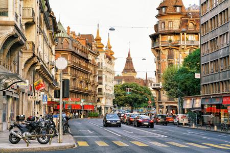 Geneva, Switzerland - August 30, 2016: Building architecture on Avenue Pictet-de-Rochemont, Geneva city center, Switzerland. People on the background