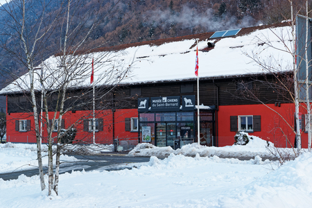 Martigny, Switzerland - January 1, 2015: Saint Bernard museum at Martigny, Switzerland. Winter