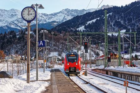 Garmisch-Partenkirchen, Germany - January 6, 2015: High speed train at the railway train station, Garmisch-Partenkirchen, Germany. Editorial